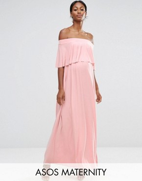 photo Off Shoulder Frill Maxi Dress by ASOS Maternity WEDDING, color Nude - Image 1
