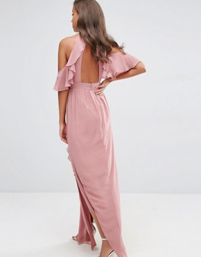 photo High Neck Maxi Dress with Frills by TFNC Tall Wedding, color Dusty Pink - Image 2