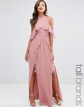 photo High Neck Maxi Dress with Frills by TFNC Tall Wedding, color Dusty Pink - Image 1