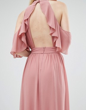 photo High Neck Maxi Dress with Frills by TFNC Petite Wedding, color Dusty Pink - Image 2