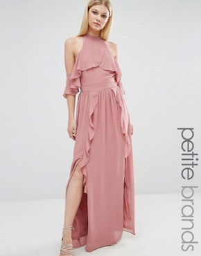 photo High Neck Maxi Dress with Frills by TFNC Petite Wedding, color Dusty Pink - Image 1