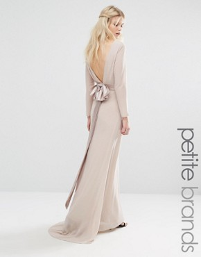 photo Bow Back Maxi Dress with Long Sleeves by TFNC Petite Wedding, color Nude - Image 1