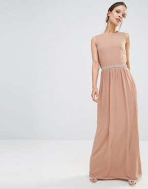 photo Embellished Drape Back Maxi Dress by TFNC Petite Wedding, color Taupe - Image 2