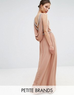 photo Embellished Drape Back Maxi Dress by TFNC Petite Wedding, color Taupe - Image 1