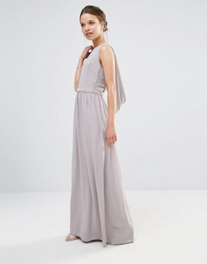 photo Embellished Drape Back Maxi Dress by TFNC Petite Wedding, color Grey - Image 2