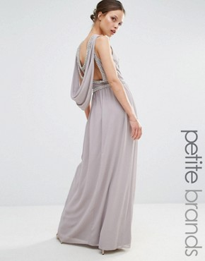 photo Embellished Drape Back Maxi Dress by TFNC Petite Wedding, color Grey - Image 1