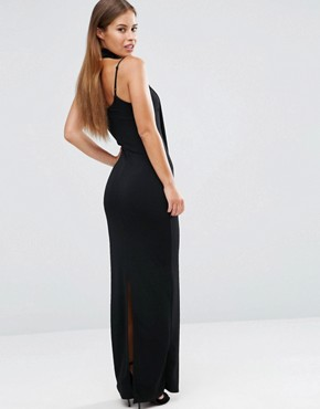 photo Bodycon Dress with Scarf Detail by John Zack Petite, color Black - Image 2