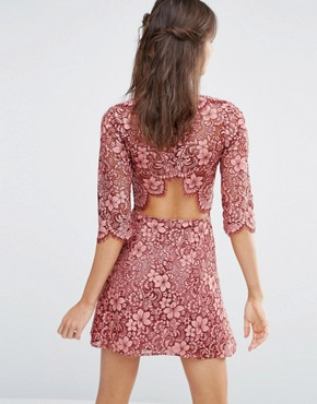 photo Theodora Lace Mini Dress with Frill by For Love and Lemons, color Pink - Image 2