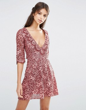 photo Theodora Lace Mini Dress with Frill by For Love and Lemons, color Pink - Image 1