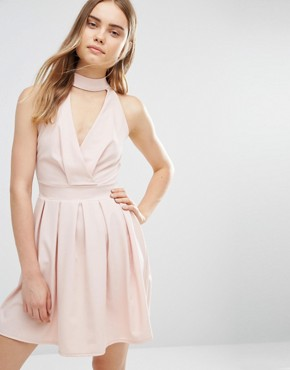 photo Skater Dress with Neck Detail by Wal G, color Blush - Image 1