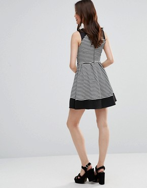 photo Skater Dress In Stripe by Wal G, color Black/White - Image 2