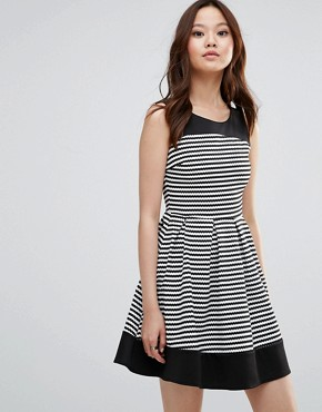 photo Skater Dress In Stripe by Wal G, color Black/White - Image 1