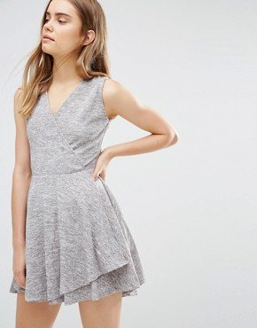 photo Skater Dress With Wrap Front by Wal G, color Grey - Image 1