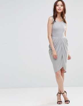 photo Dress with Rouched Skirt and Cross Back by Wal G, color Grey - Image 2