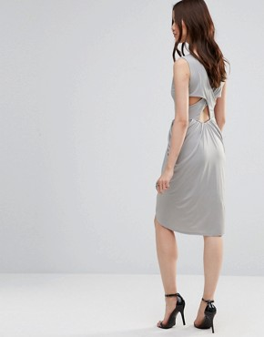 photo Dress with Rouched Skirt and Cross Back by Wal G, color Grey - Image 1