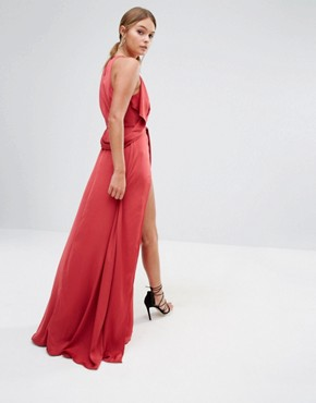 photo Tie Front Maxi Dress with Thigh Split by Stylestalker, color Red - Image 2