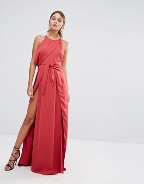 photo Tie Front Maxi Dress with Thigh Split by Stylestalker, color Red - Image 1