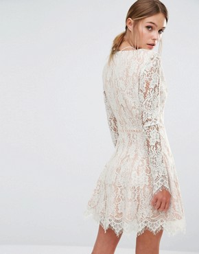 photo Long Sleeve Allover Lace Mini Dress by Stylestalker, color White - Image 2