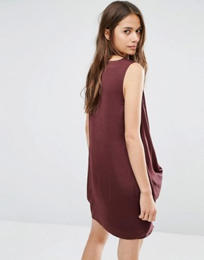 photo Gathered Front Mini Dress with Neck Detail by Stylestalker, color Oxblood - Image 2