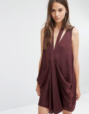 photo Gathered Front Mini Dress with Neck Detail by Stylestalker, color Oxblood - Image 1