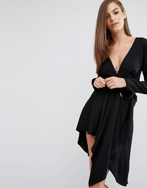 photo Maia Long Sleeve Dress with Hoop Detail by Stylestalker, color Black - Image 1