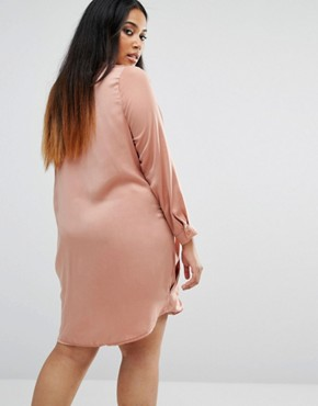 photo Satin Wrap Over Dress by Missguided Plus, color Toffee - Image 2