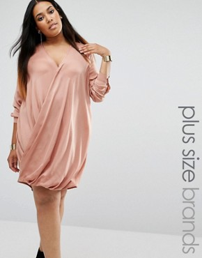 photo Satin Wrap Over Dress by Missguided Plus, color Toffee - Image 1