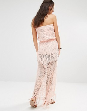 photo Crochet Front Split Maxi Beach Dress by Minkpink, color Shell Pink - Image 2