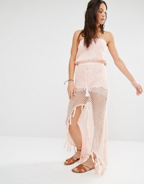 photo Crochet Front Split Maxi Beach Dress by Minkpink, color Shell Pink - Image 1
