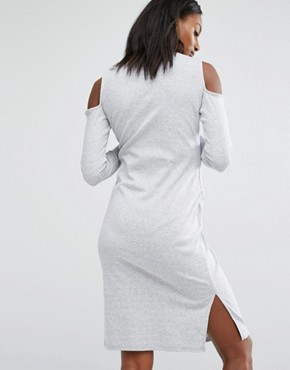 photo Cold Shoulder Ribbed Midi Dress by Missguided Maternity, color Grey - Image 2