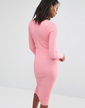 photo Bodycon Side Split Midi Dress by Missguided Maternity, color Pink - Image 2