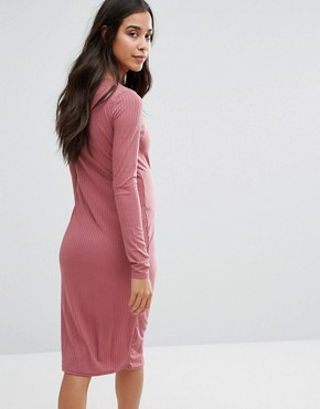 photo Lace Up Rib Midi Dress by Missguided Maternity, color Mauve - Image 2