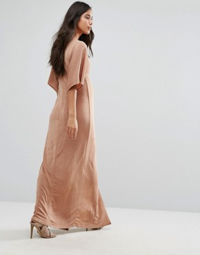 photo Knot Front Slinky Maxi Dress by Missguided Maternity, color Caramel - Image 2