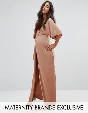 photo Knot Front Slinky Maxi Dress by Missguided Maternity, color Caramel - Image 1