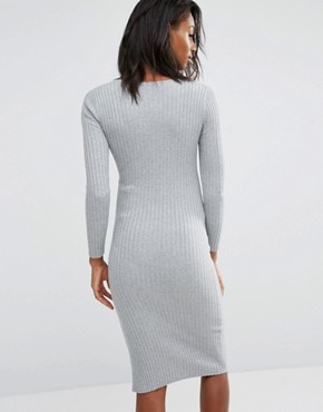 photo Bodycon Side Split Midi Dress by Missguided Maternity, color Grey - Image 2