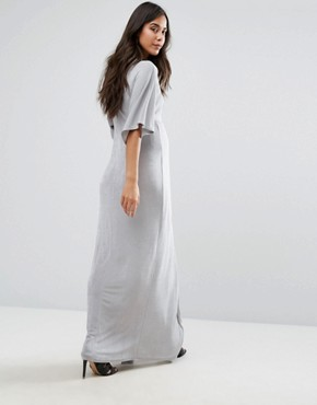 photo Knot Front Slinky Maxi Dress by Missguided Maternity, color Ice Grey - Image 2