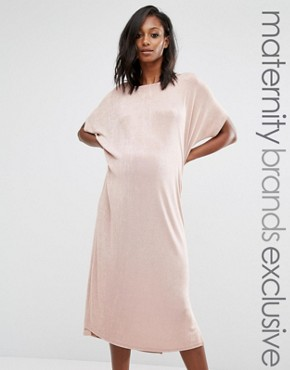 photo Oversized Slinky Dress by Missguided Maternity, color Nude - Image 1