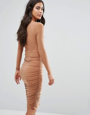 photo Ruched Midi Dress by Missguided Maternity, color Caramel - Image 2