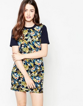 photo Dress In Floral Print with Contrast Sleeves by Madam Rage, color  - Image 1