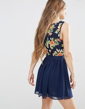 photo Skater Dress With Floral Top by Madam Rage, color Navy - Image 2