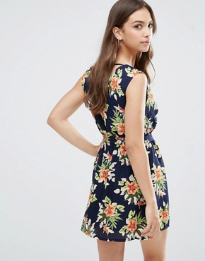 photo Wrap Front Dress In Floral Print by Madam Rage, color Navy - Image 2