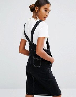 photo Dungaree Dress With Contrast Stitching by Daisy Street, color Black - Image 2