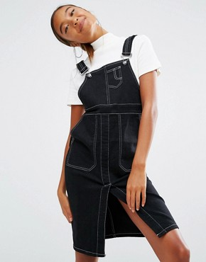 photo Dungaree Dress with Contrast Stitching by Daisy Street, color Black - Image 1