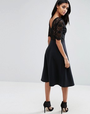 photo Midi Skater Dress with Scuba Skirt and Lace Top by ASOS, color Black - Image 2