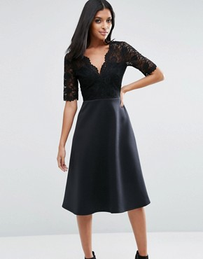 photo Midi Skater Dress with Scuba Skirt and Lace Top by ASOS, color Black - Image 1
