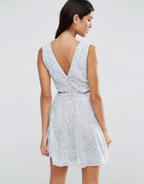 photo Embellished Side Cut Out Mini Dress by ASOS, color Silver - Image 2