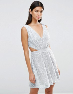 photo Embellished Side Cut Out Mini Dress by ASOS, color Silver - Image 1