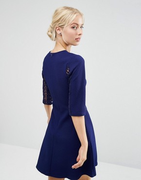 photo Lace Insert Skater Dress by ASOS, color Navy - Image 2
