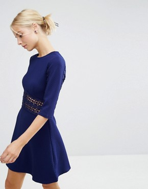 photo Lace Insert Skater Dress by ASOS, color Navy - Image 1