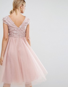 photo Applique Bodice Dress with Tulle Skirt by Chi Chi London Maternity, color Pink - Image 2